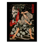Demonio que lucha de Watanabe Tsuna, 歌川国芳 Tarjeta Postal
