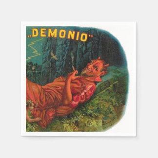 Demonio Red Devil Satan Smoking Cigar Halloween Paper Napkin