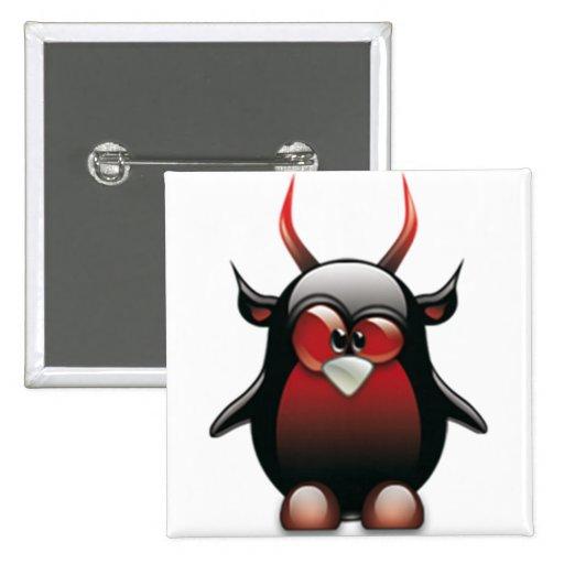 Demonio Tux (Linux Tux) Pin Cuadrada 5 Cm