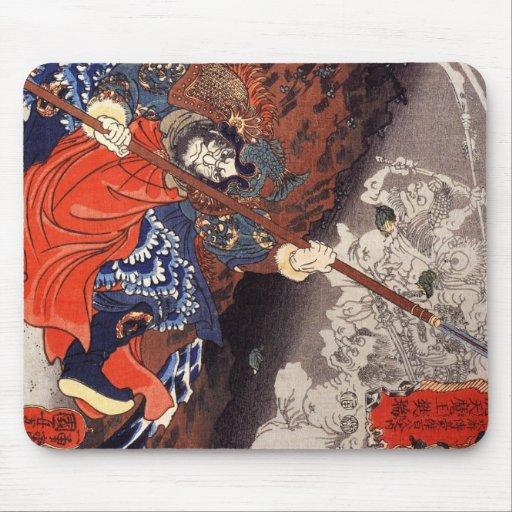 Demonios que luchan del samurai tapetes de raton