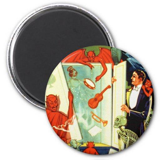 Demonios y diablos mágicos del mago del vintage imán para frigorífico