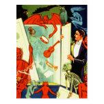 Demonios y diablos mágicos del mago del vintage tarjeta postal