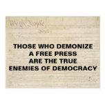 Demonize a Free Press True Enemy of Democracy Postcard
