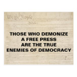 Demonize Press Enemy of Democracy First Amendment Postcard