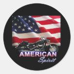 Demostración americana de la motocicleta del pegatina redonda