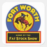 Demostración común gorda de Fort Worth Colcomanias Cuadradas