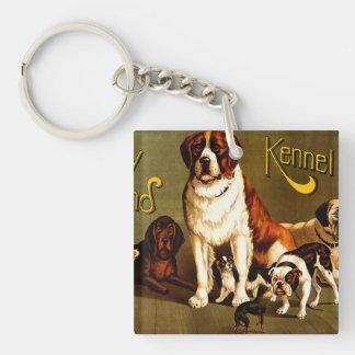 Demostración de banco. Club de la perrera de Nueva Llavero Cuadrado Acrílico A Doble Cara