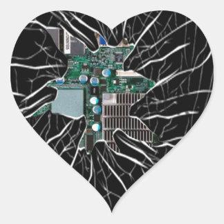 Demostración de cristal agrietada de la pegatinas de corazon