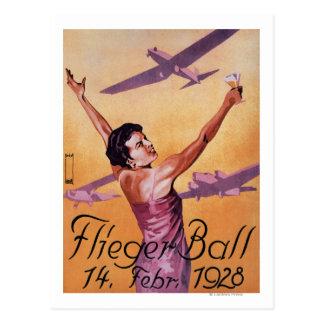 Demostración de la aviación en el poster del promo postal