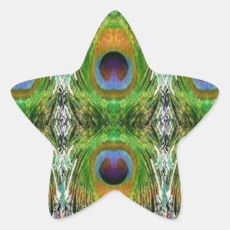 Demostración de la pluma del pavo real pegatina en forma de estrella