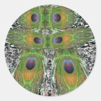 Demostración de la pluma del pavo real pegatina redonda