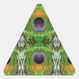 Demostración de la pluma del pavo real pegatina triangular
