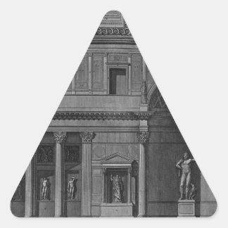 Demostración de una parte del interior pegatina triangular