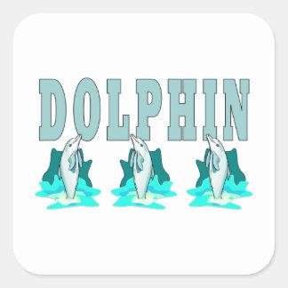Demostración del delfín pegatina cuadrada