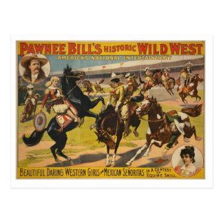 Demostración del oeste salvaje de Bill del Pawnee Postales