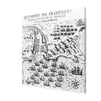 Demostración del plan cómo Francis Drake asaltó Impresión En Lienzo