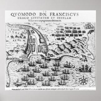 Demostración del plan cómo Francis Drake asaltó Poster