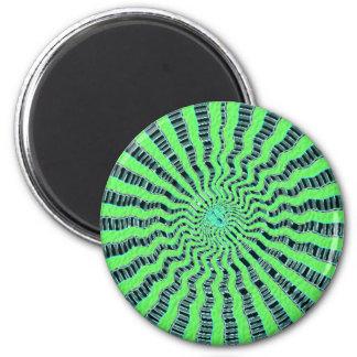 Demostración del verde esmeralda - ondas, panorama imán redondo 5 cm