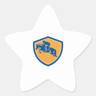 Demostración ecuestre que salta el protección pegatinas forma de estrella personalizadas