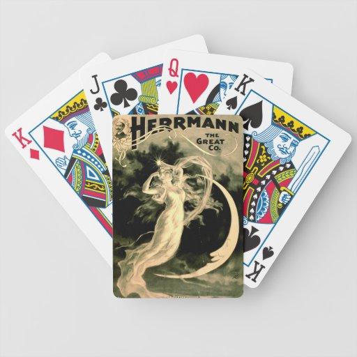 Demostración mágica Playbill 1898 Barajas De Cartas