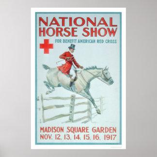 Demostración nacional del caballo para la Cruz Roj Póster