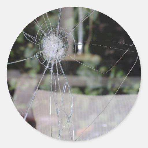 Demostración-ventana quebrada pegatinas redondas