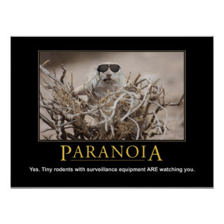 Demotivational Squirrel Poster: Paranoia Poster at Zazzle