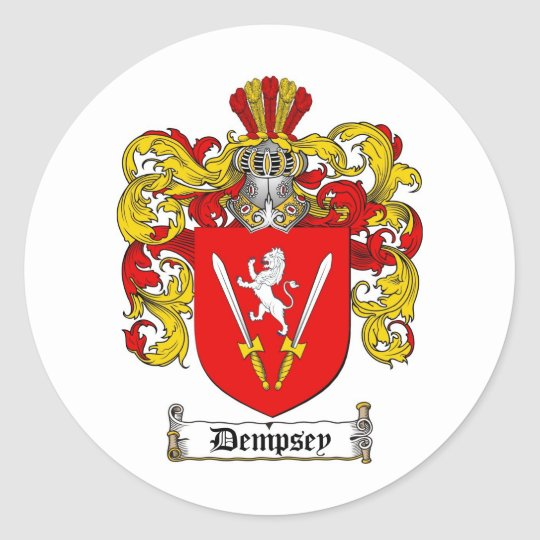 DEMPSEY FAMILY CREST -  DEMPSEY COAT OF ARMS CLASSIC ROUND STICKER