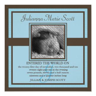 "Demure Photo Baby/Birth Announcement (Baby Blue) 5.25"" Square Invitation Card"