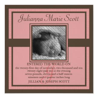 """Demure Photo Baby/Birth Announcement (Brick) 5.25"""" Square Invitation Card"""