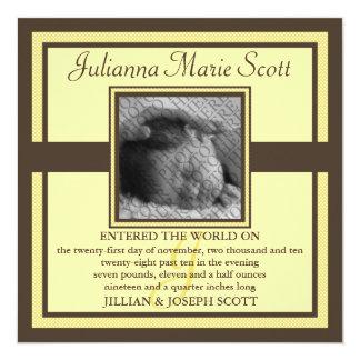 """Demure Photo Baby/Birth Announcement (Dandelion) 5.25"""" Square Invitation Card"""