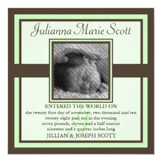 Demure Photo Baby/Birth Announcement (Mint)