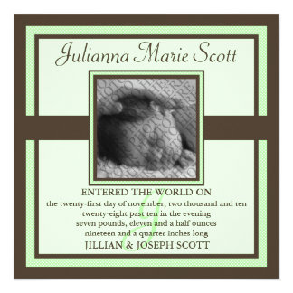 """Demure Photo Baby/Birth Announcement (Mint) 5.25"""" Square Invitation Card"""