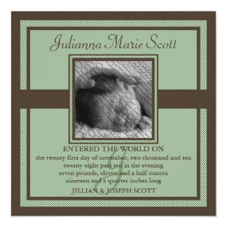 """Demure Photo Baby/Birth Announcement (Pistachio) 5.25"""" Square Invitation Card"""