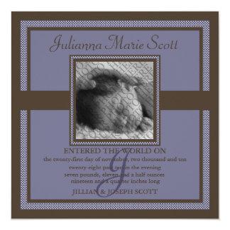 "Demure Photo Baby/Birth Announcement (Steel Blue) 5.25"" Square Invitation Card"