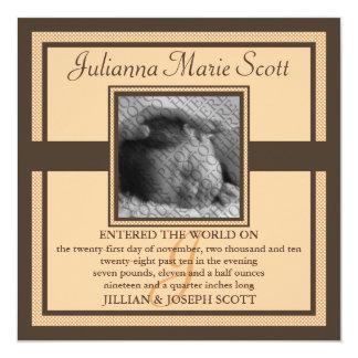 "Demure Photo Baby/Birth Announcement (Sunset) 5.25"" Square Invitation Card"