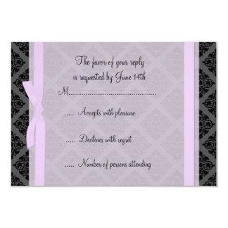 Demure Pink and Black Damask RSVP Card