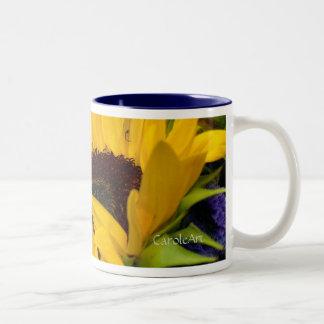 Demure Sunflower. Two-Tone Coffee Mug