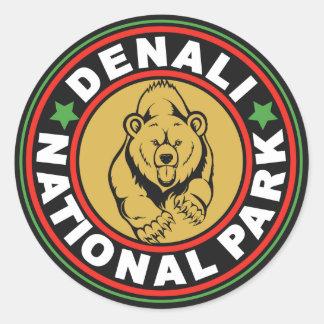 Denali Black Circle Classic Round Sticker