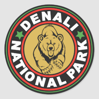 Denali Black Circle Round Sticker