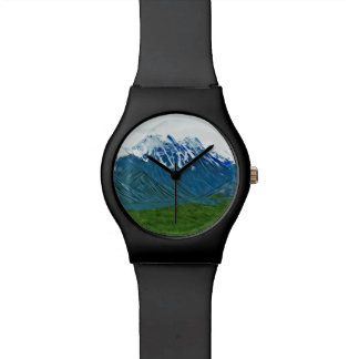 Denali con el impresionismo abstracto de Alaska de Relojes De Pulsera