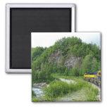 Denali Express Alaska Train Vacation Photography 2 Inch Square Magnet
