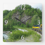 Denali Express Alaska Train Vacation Photography Square Wall Clock