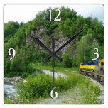 Denali Express Alaska Train Vacation Photography Square Wall Clock