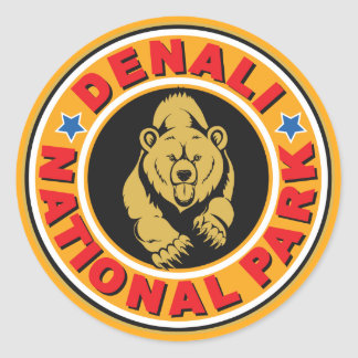 Denali Gold Circle Classic Round Sticker