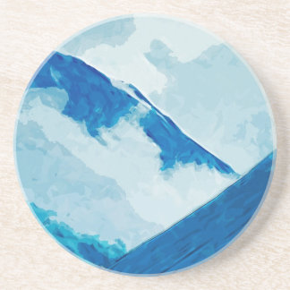 Denali in Clouds Abstract Impressionism Sandstone Coaster