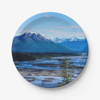 Denali Mountain Range Paper Plate