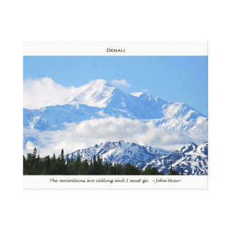 Denali / Mtns are calling-J Muir/with border Canvas Print