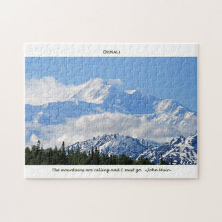 Denali Mtns are calling-J Muir with border Jigsaw Puzzles