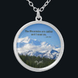 """Denali Mtns are calling / Muir Template Silver Plated Necklace<br><div class=""""desc"""">This lovely round necklace features a beautiful and clear photograph of Denali in Alaska, previously called Mt. McKinley, on a gorgeous day. This majestic mountain is only clear about 30% of the time so we were extremely blessed to see the top of &#39;The Great One&#39;! Alaska is awesome! The famous...</div>"""